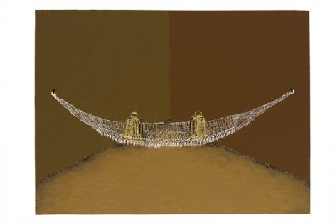 Dalton Paula | Sinos na rede | 30 x 40 cm| óleo sobre tela e folha de ouro 22k| Foto: Paulo Rezende | 2016