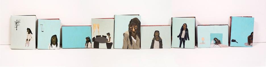 Retrata Divina | Óleo sobre livro | 30 x 186 cm | Foto: Paulo Rezende | 2015