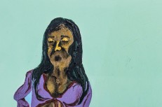 Retrata Maria II | Óleo sobre livro | Foto: Pedro Victor Brandão | 2015