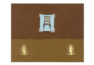 Dalton Paula | Sino e cadeira | 40 x 50 cm| óleo sobre tela e folha de ouro 22 k | Foto: Paulo Rezende | 2017