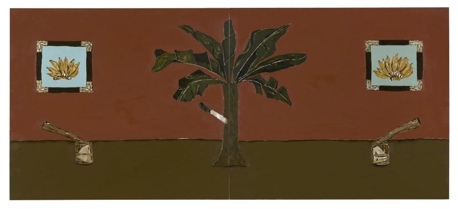 Dalton Paula | Enfia a faca na bananeira | Óleo e folha de prata sobre tela| 130 x 296 cm| Foto: Paulo Rezende | 2017