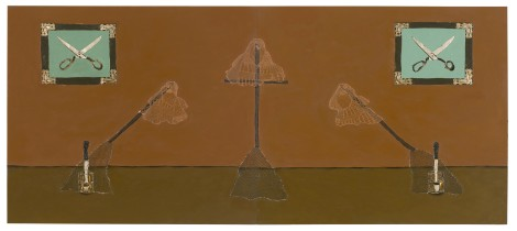 Dalton Paula | Vassourinha | Óleo e folha de prata sobre tela| 130 x 296 cm| Foto: Paulo Rezende | 2017
