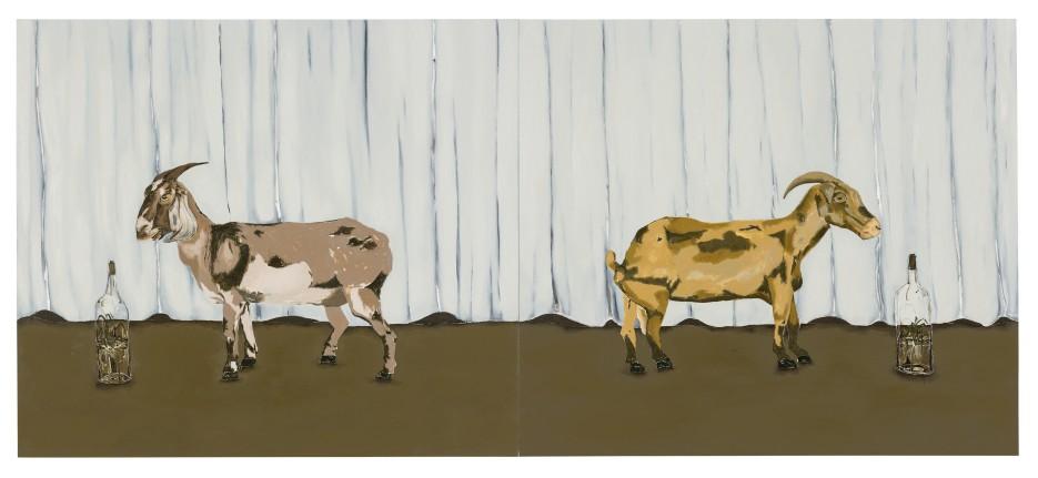 Dalton Paula | Caprinos e o pasto | Óleo sobre tela |130 x 296 cm |Foto: Paulo Rezende | 2017