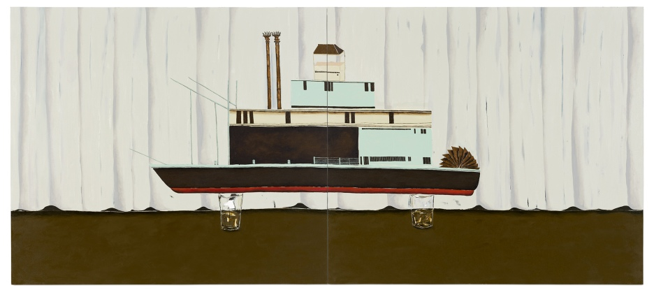 Dalton Paula | Navegar em dois copos d'água | Óleo sobre tela | 130 x 296 cm | Foto: Paulo Rezende | 2018