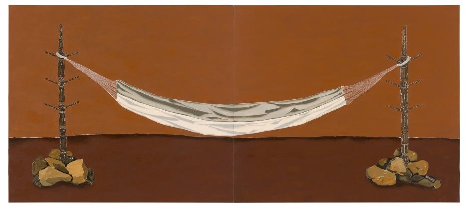 Dalton Paula | Cabideiro, pedra e rede | Óleo sobre tela | 130 x 296 cm | Foto: Paulo Rezende | 2018