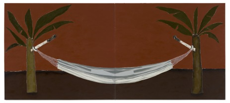 Dalton Paula | Bananeira, facão e rede | Óleo e folha de prata sobre tela | 130 x 296 cm | Foto: Paulo Rezende | 2018