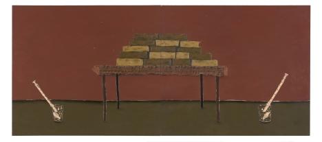Dalton Paula| Canção das abelhas | Óleo e folha de prata sobre tela| 130 x 296 cm| Foto: Paulo Rezende | 2018