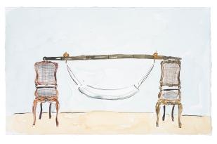 Dalton Paula | Assentar volta à cidade de um proprietário de chácara | Nanquim e aquarela sobre papel | 25 x 40 cm | Foto: Paulo Rezende | 2019