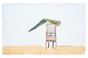 Dalton Paula | Assentar pita recolhida para fabricação de cordas | Nanquim e aquarela sobre papel | 25 x 40 cm | Foto: Paulo Rezende | 2019