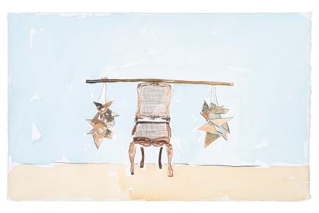 Dalton Paula | Assentar vendedor de pó de sapato | Nanquim e aquarela sobre papel | 25 x 40 cm | Foto: Paulo Rezende | 2019