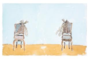Dalton Paula | Assentar vendedor de cebola | Nanquim e aquarela sobre papel | 25 x 40 cm | Foto: Paulo Rezende | 2019
