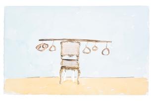 Dalton Paula | Assentar vendedor de linguiça | Nanquim e aquarela sobre papel | 25 x 40 cm | Foto: Paulo Rezende | 2019