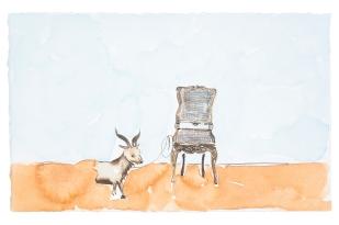 Dalton Paula | Assentar cabrito à venda | Nanquim e aquarela sobre papel | 25 x 40 cm | Foto: Paulo Rezende | 2019