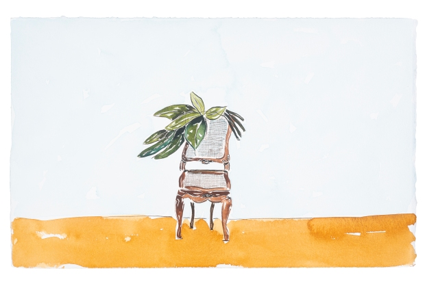 Dalton Paula | Assentar um naturalista e folhas | Nanquim e aquarela sobre papel | 25 x 40 cm | Foto: Paulo Rezende | 2019