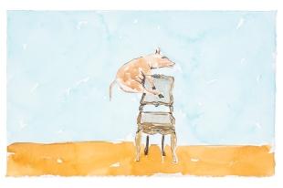 Dalton Paula | Assentar carne de porco | Nanquim e aquarela sobre papel | 25 x 40 cm | Foto: Paulo Rezende | 2019