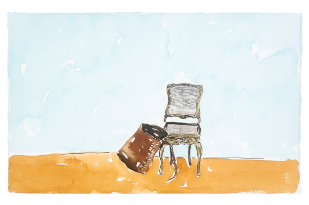 Dalton Paula | Assentar tropeiros | Nanquim e aquarela sobre papel | 25 x 40 cm | Foto: Paulo Rezende | 2019