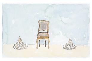 Dalton Paula | Assentar fatias de coco | Nanquim e aquarela sobre papel | 25 x 40 cm | Foto: Paulo Rezende | 2019